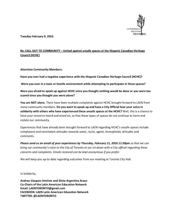 Call Out to Community regarding Concerns against HCHC