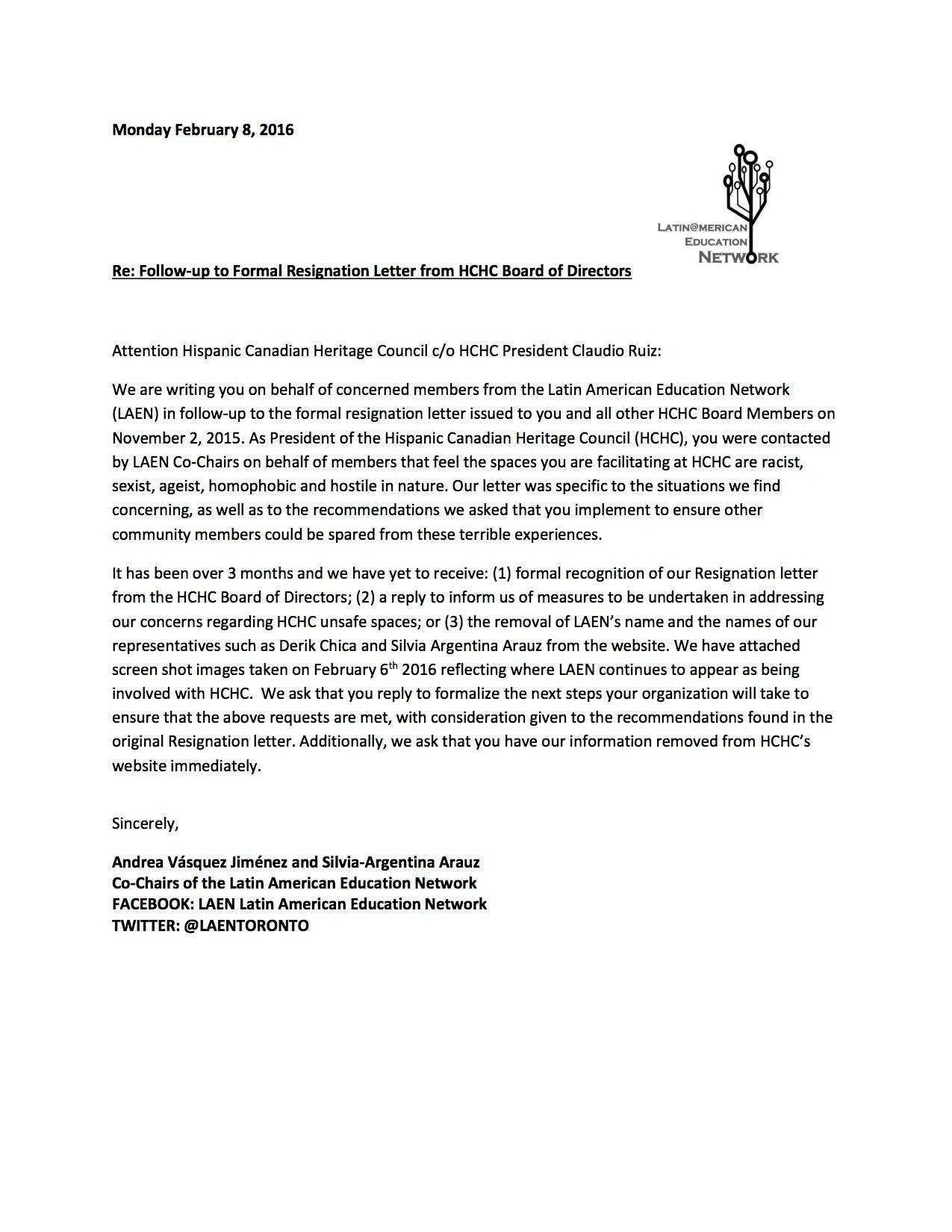Follow Up To Formal Resignation Letter From HCHC Board Of Directors | Latin  American Education Network