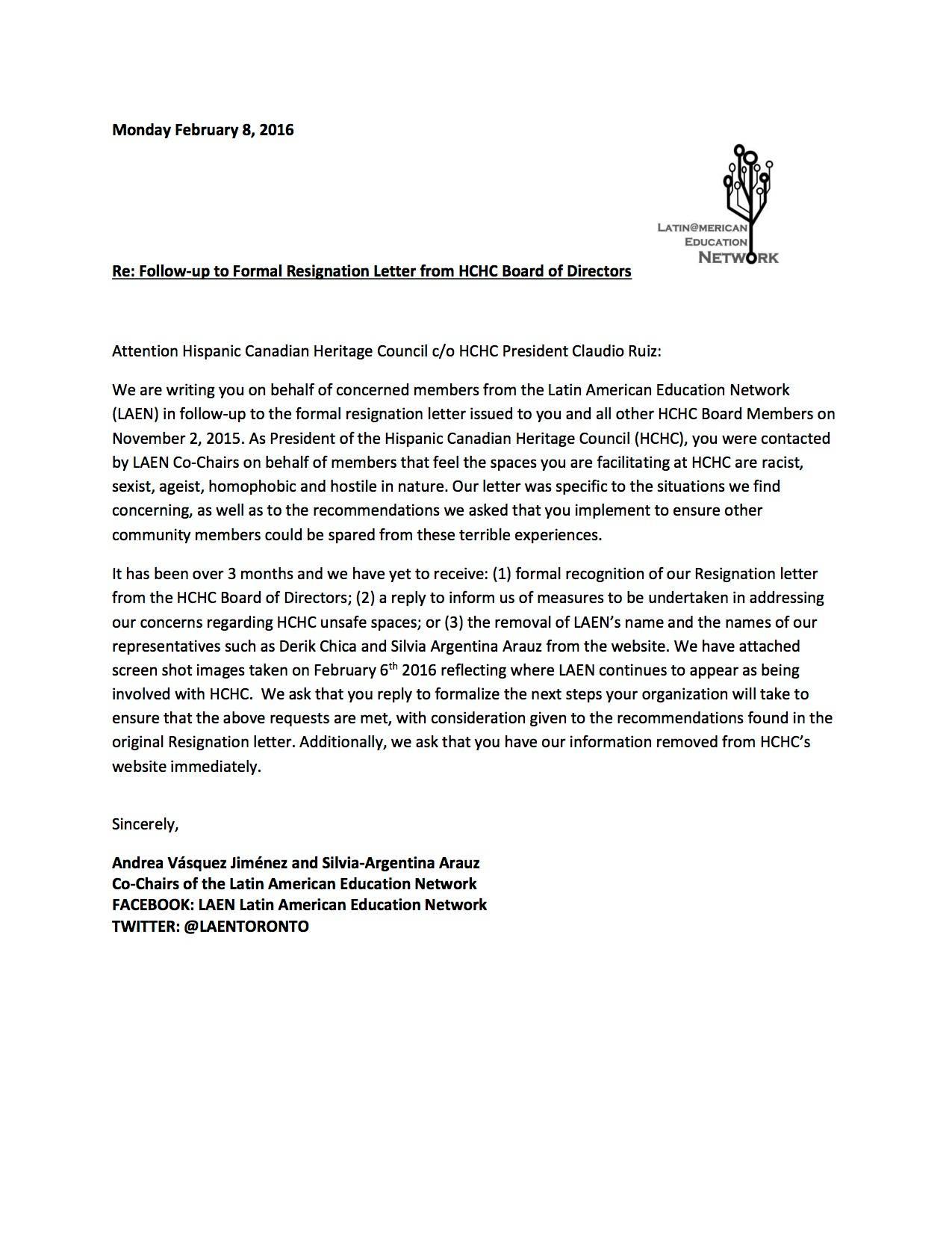 Ceo Resignation Letter customer service supervisor cover letter – Board Resignation Letter