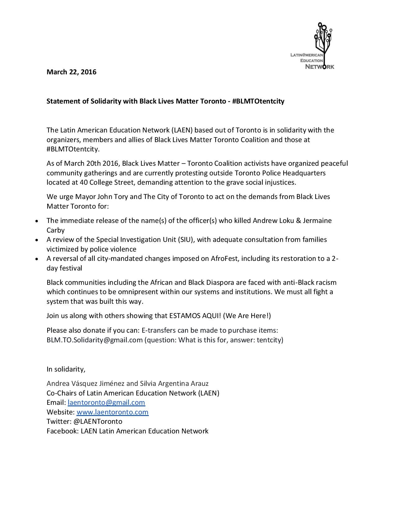 LAEN Statement of Solidarity with Black Lives Matter Toronto